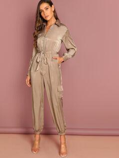 Zip Up Belted Pocket Collar Jumpsuit