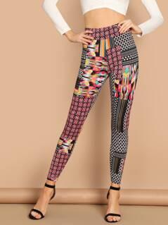 Patchwork Print Leggings