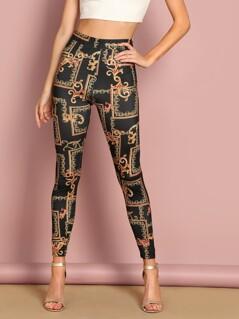 High Waist Ornate Print Leggings