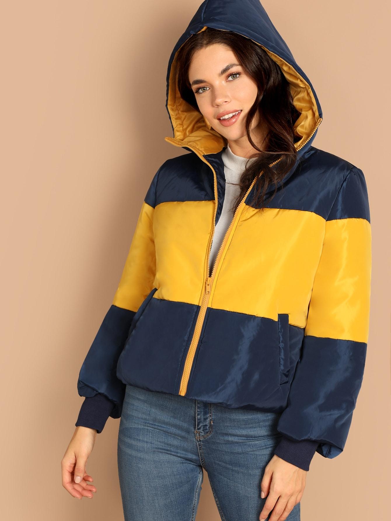 Купить Контрастное пальто с капюшоном на молнии, Aarika Wolf, SheIn