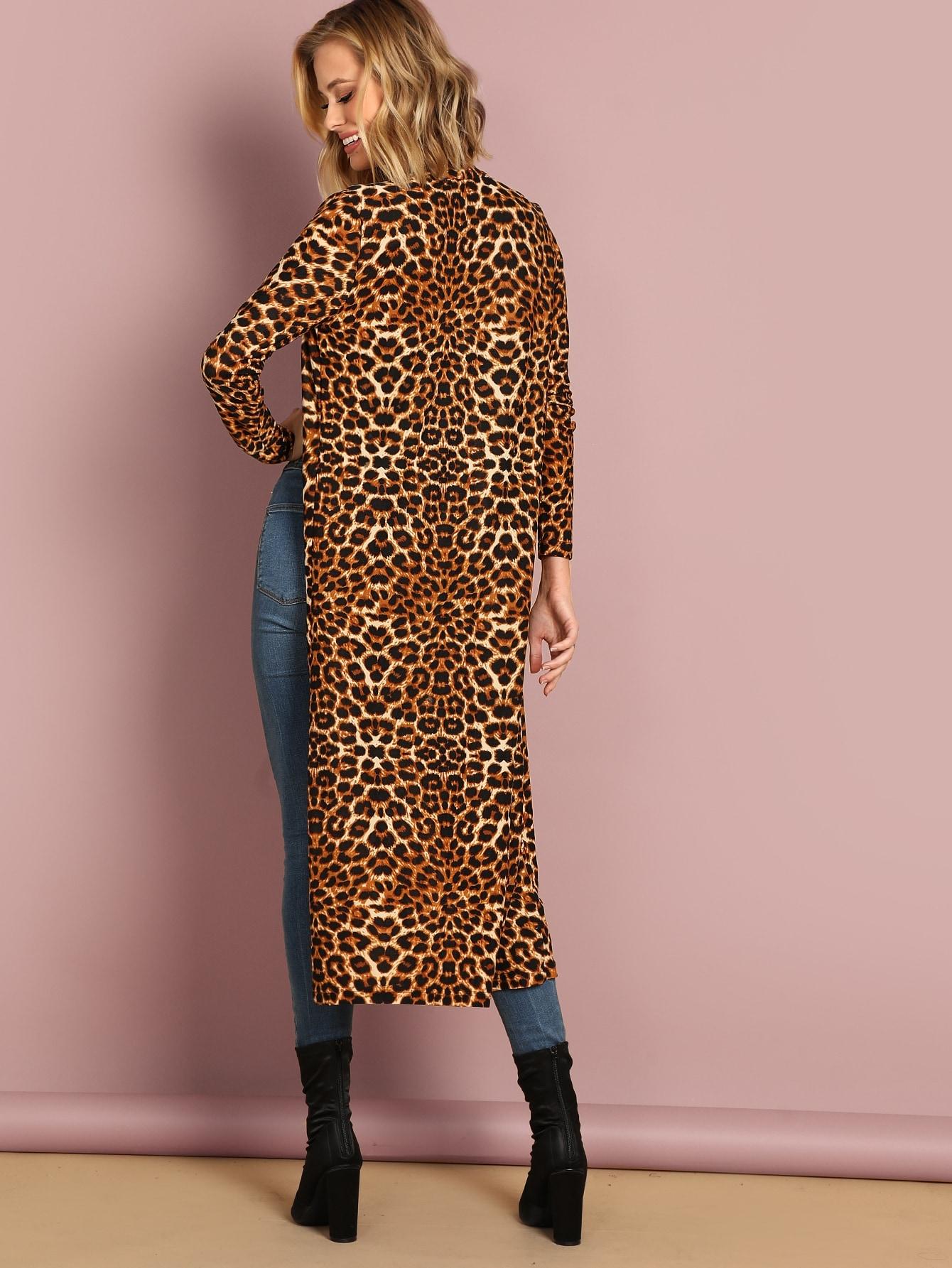 Купить Длинное леопардовое пальто, Mattah Parker, SheIn
