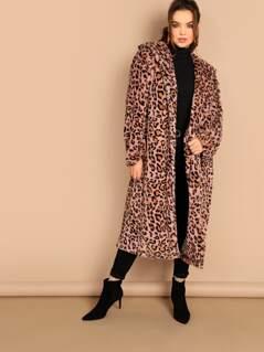 Plus Leopard Print Longline Coat