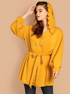 Plus Scalloped Trim Double Breasted Hoodie Coat