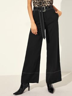 Contrast Stitch Buckle Belted Palazzo Pants