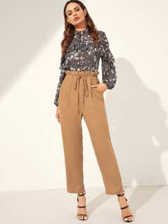 Paper Waist Drawstring Solid Pants