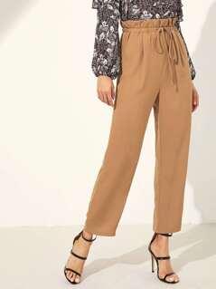 Paper Waist Drawstring Solid Pants