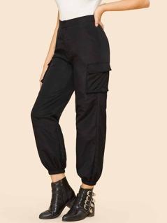 Pocket Patched Elastic Hem Pants
