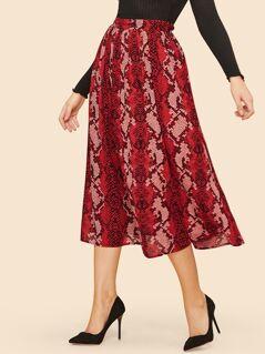Snakeskin Print Swing Skirt