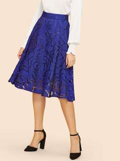Exposed Zip Back Textured Skirt