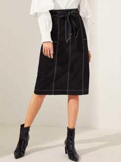 Contrast Stitch Split Back Skirt With Belt