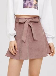 Corduroy Wide Waist Skirt