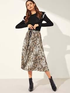Drawstring Waist Snakeskin Skirt