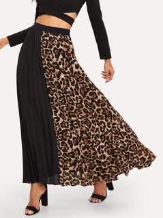 Cut-and-sew Leopard Print Pleated Skirt