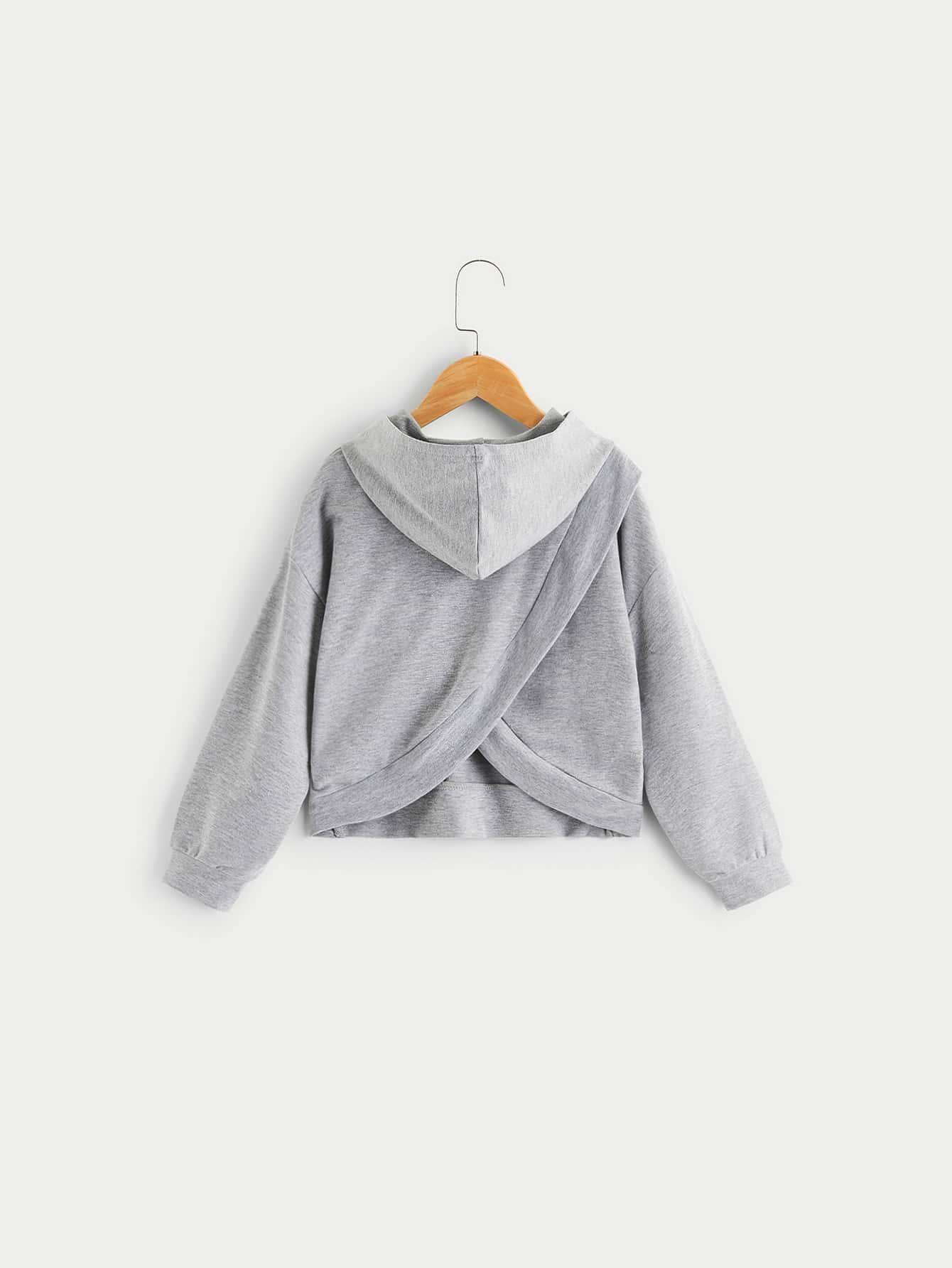 Купить Однотонный стильный свитшот с капюшоном и заниженной линией плеч, null, SheIn