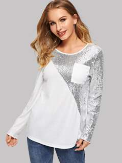 Pocket Patched Sequin Panel Tee