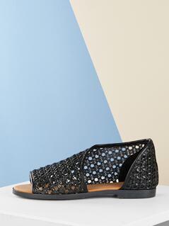 Woven Detail Open Toe Dorsay Style Slip On Flats