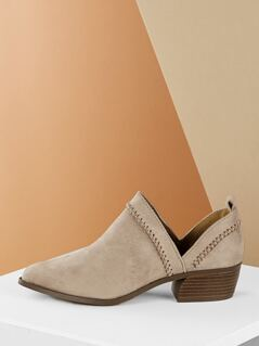Whip Stitch Detail Split Shaft Low Heel Bootie