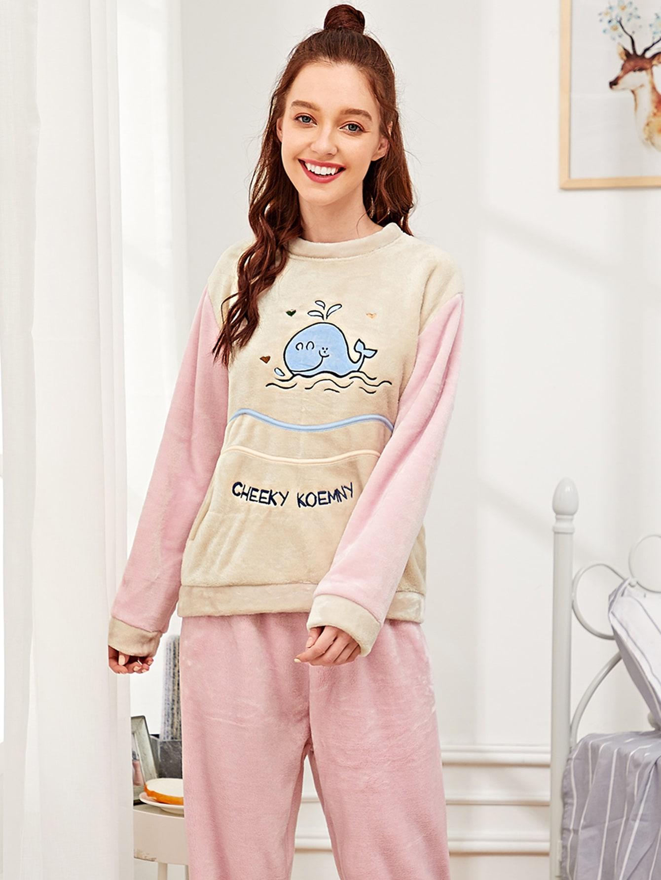 Купить Пушистая пижама с принтом вышитого кита, Poly, SheIn