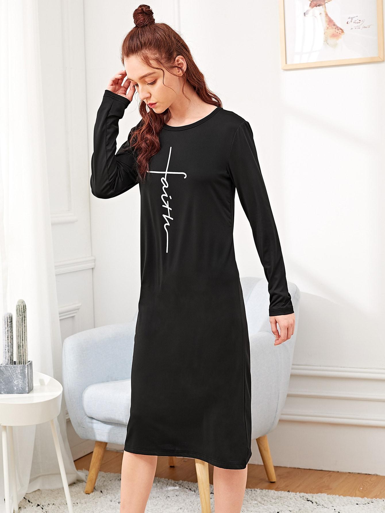 Купить Ночная сорочка с текствым принтом, Poly, SheIn