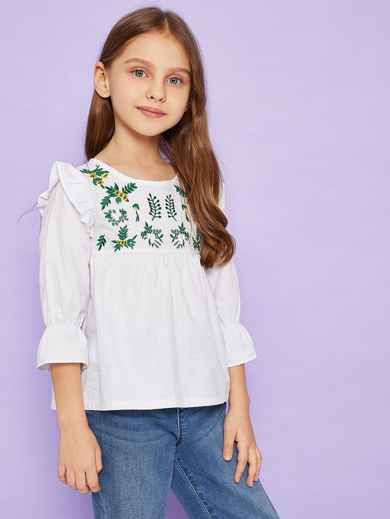 Купить Блуза с кружевными оборками и вышитым графическим принтом для маленьких девочек, Anna C, SheIn