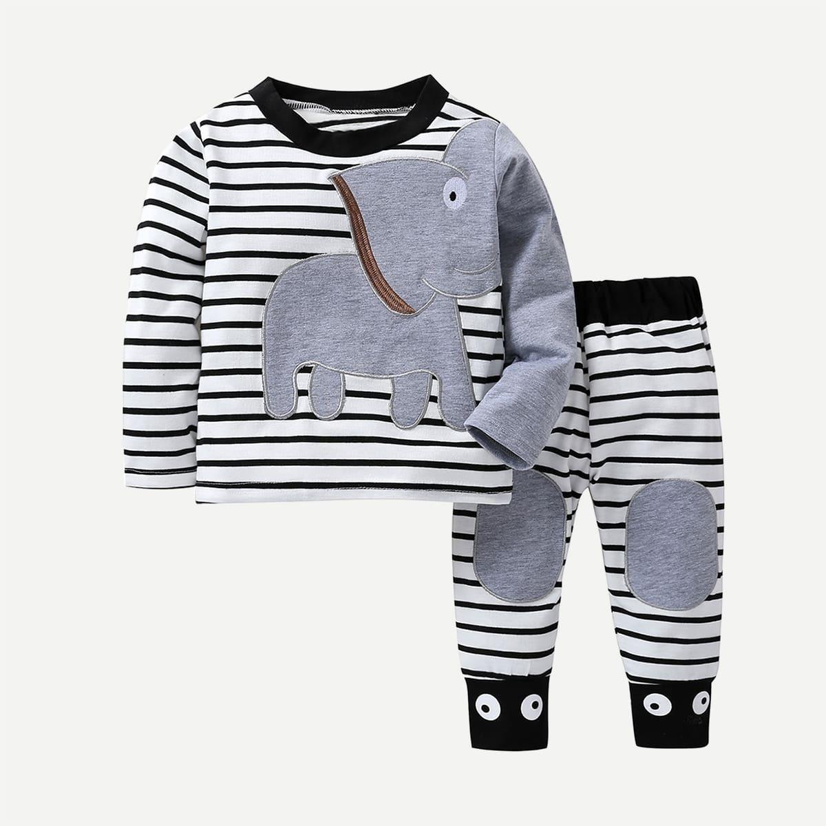 Футболка с принтом слона и полосатым и брюки для маленьких мальчиков от SHEIN