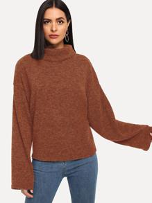 Shoulder | Sweater | Solid | High | Neck