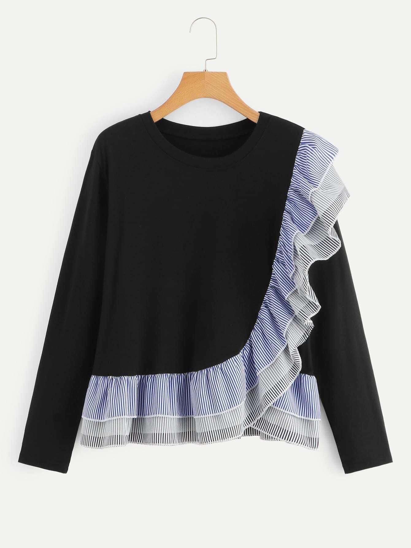Купить Контрастная полосатая футболка с оборками, null, SheIn
