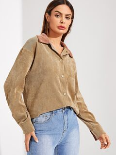 Contrast Collar Pocket Patched Corduroy Utility Shirt