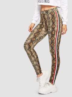 Contrast Sideseam Snake Skin Print Leggings