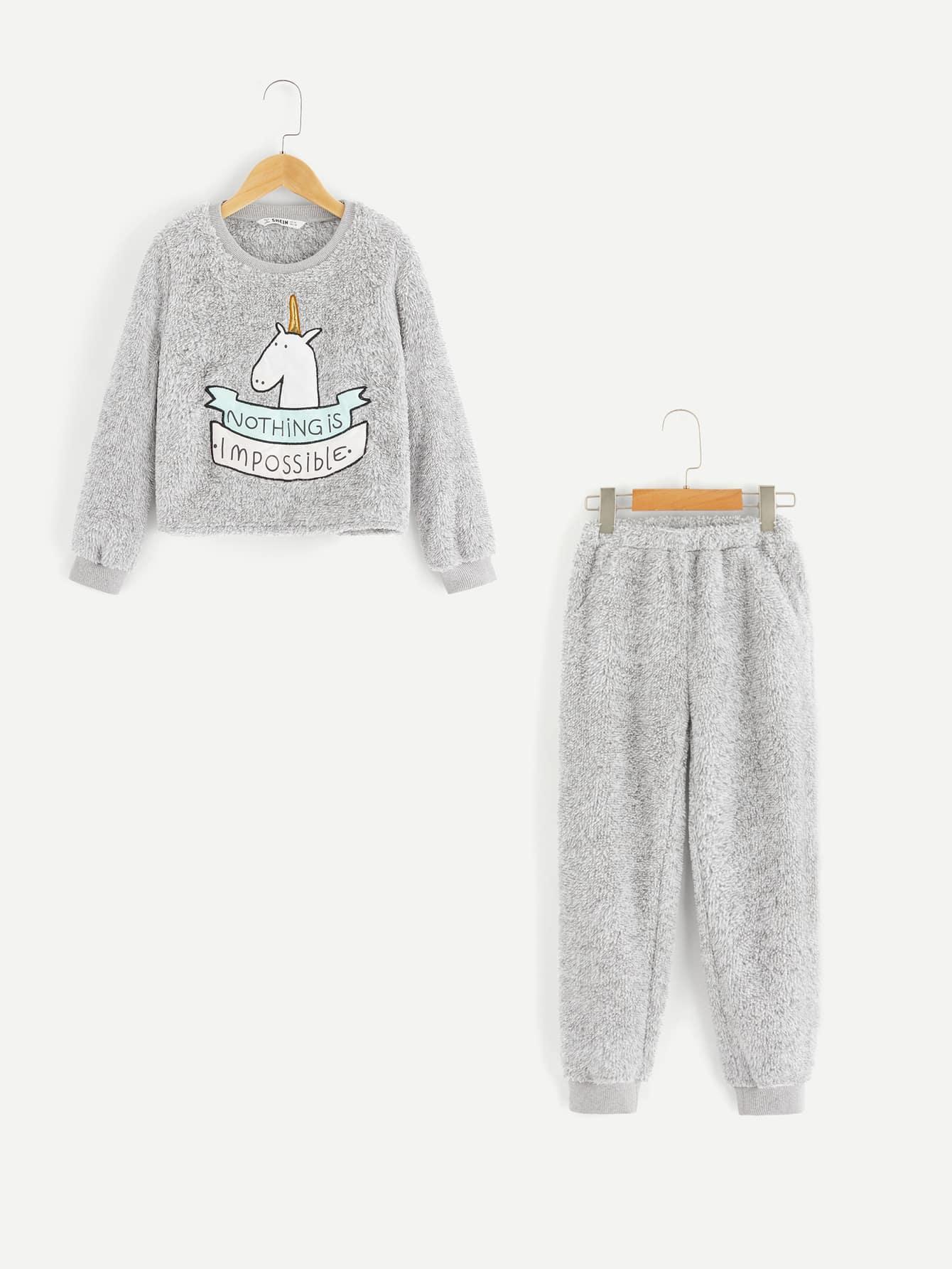 Пушистий пуловер с принтом животных и брюки пижамы комплект для девочек от SheIn