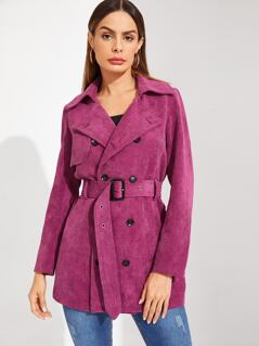Double Breasted Belted Corduroy Trench Coat