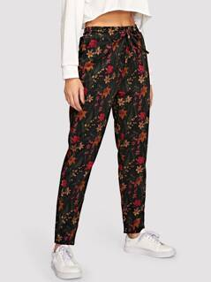 Elastic Waist Drawstring Floral Pants