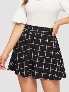Elastic Waist Grid Textured Skirt