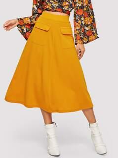 Flap Pocket Front Solid Skirt