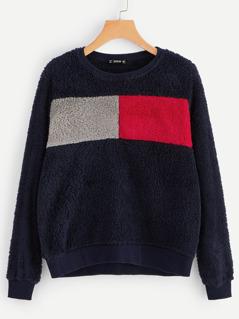 Color-block Teddy Pullover