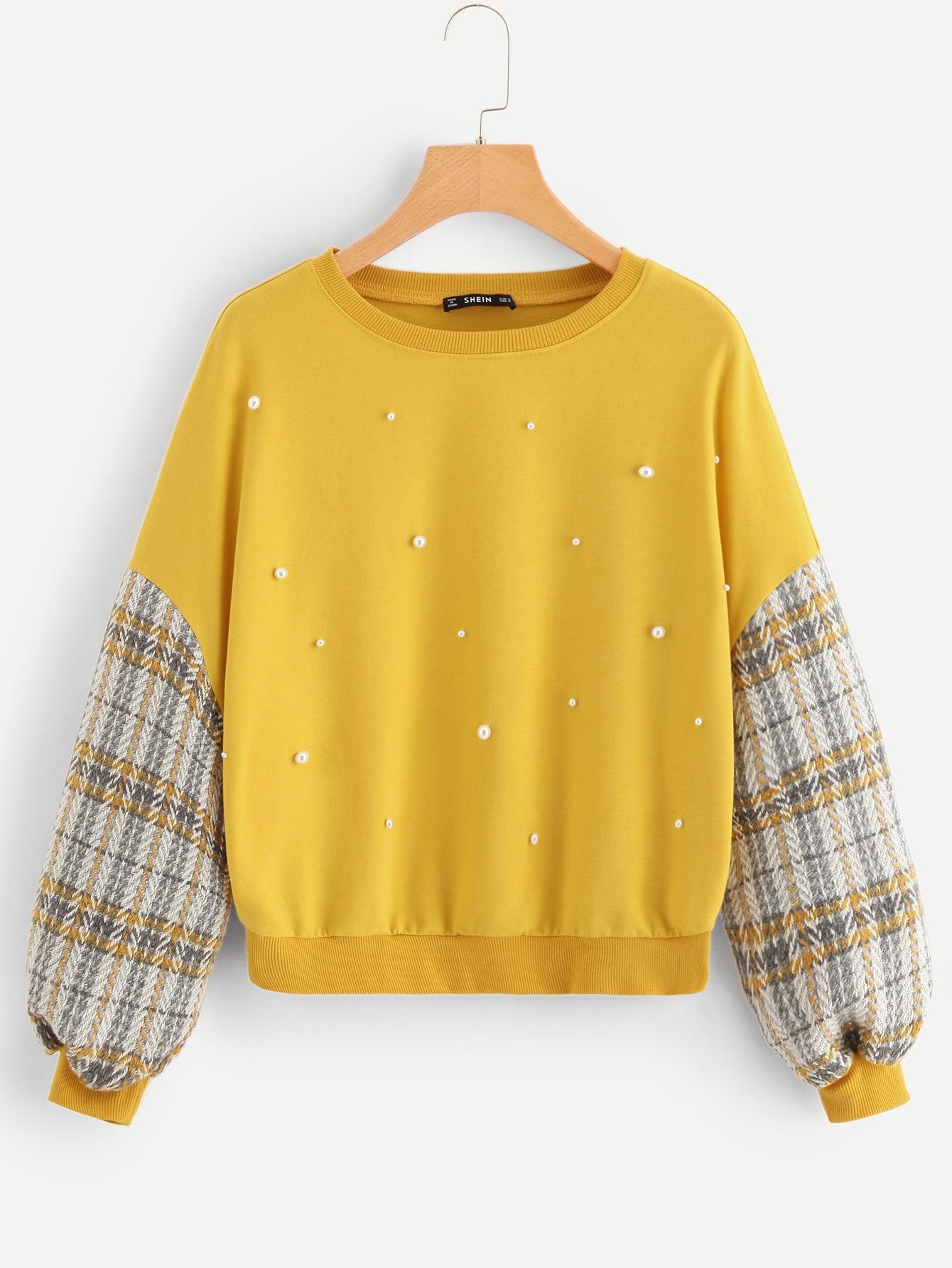 Купить Пуловер с клетчатым рукавом и жемчугами размера плюс, null, SheIn