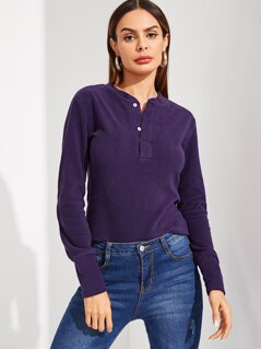 Buttoned Half Placket Teddy Tee