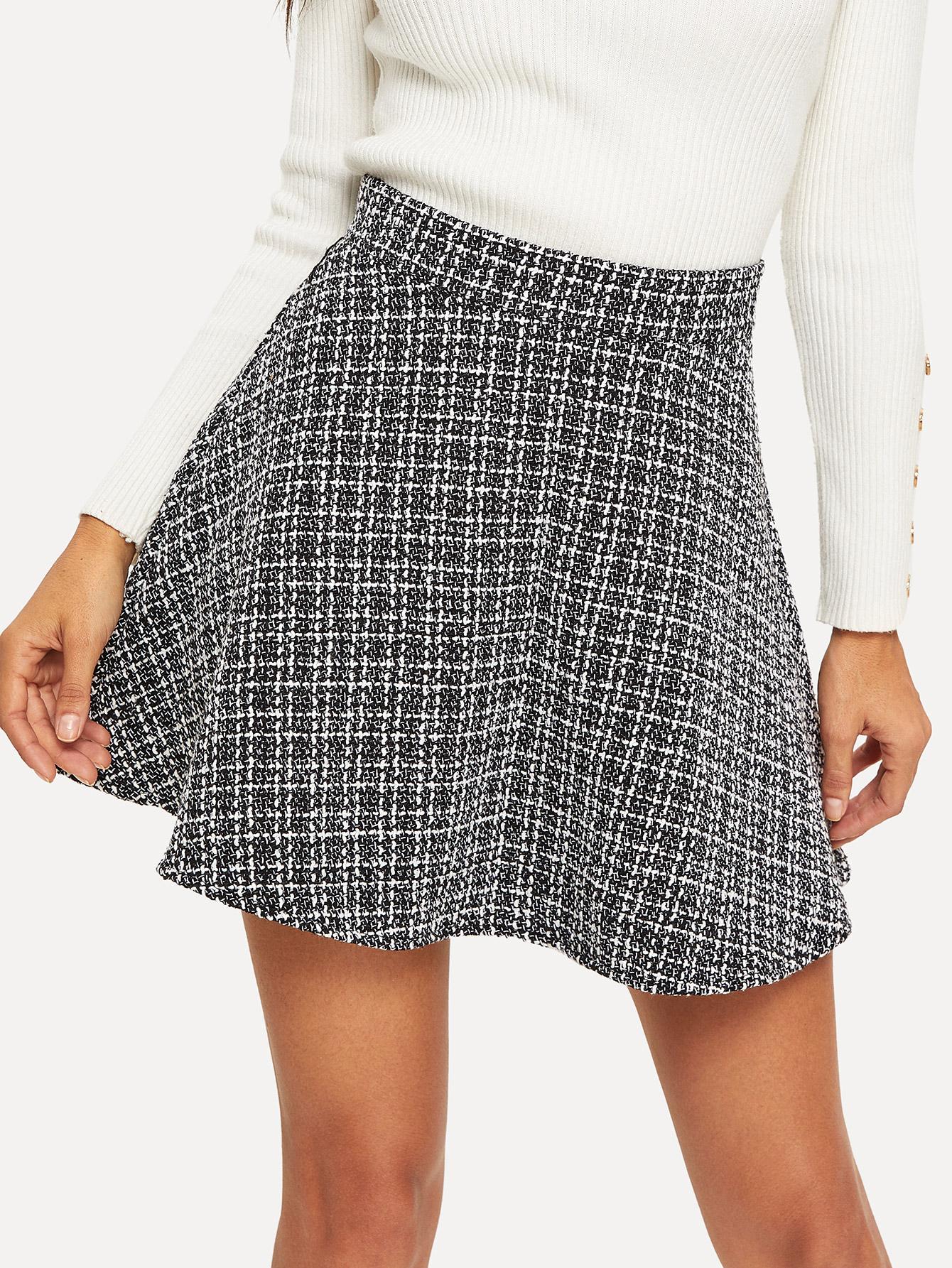 Купить Клетчатая твидовая юбка на молнии сзади, Juliana, SheIn