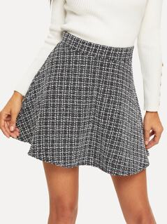 Zip Back Plaid Tweed Skirt