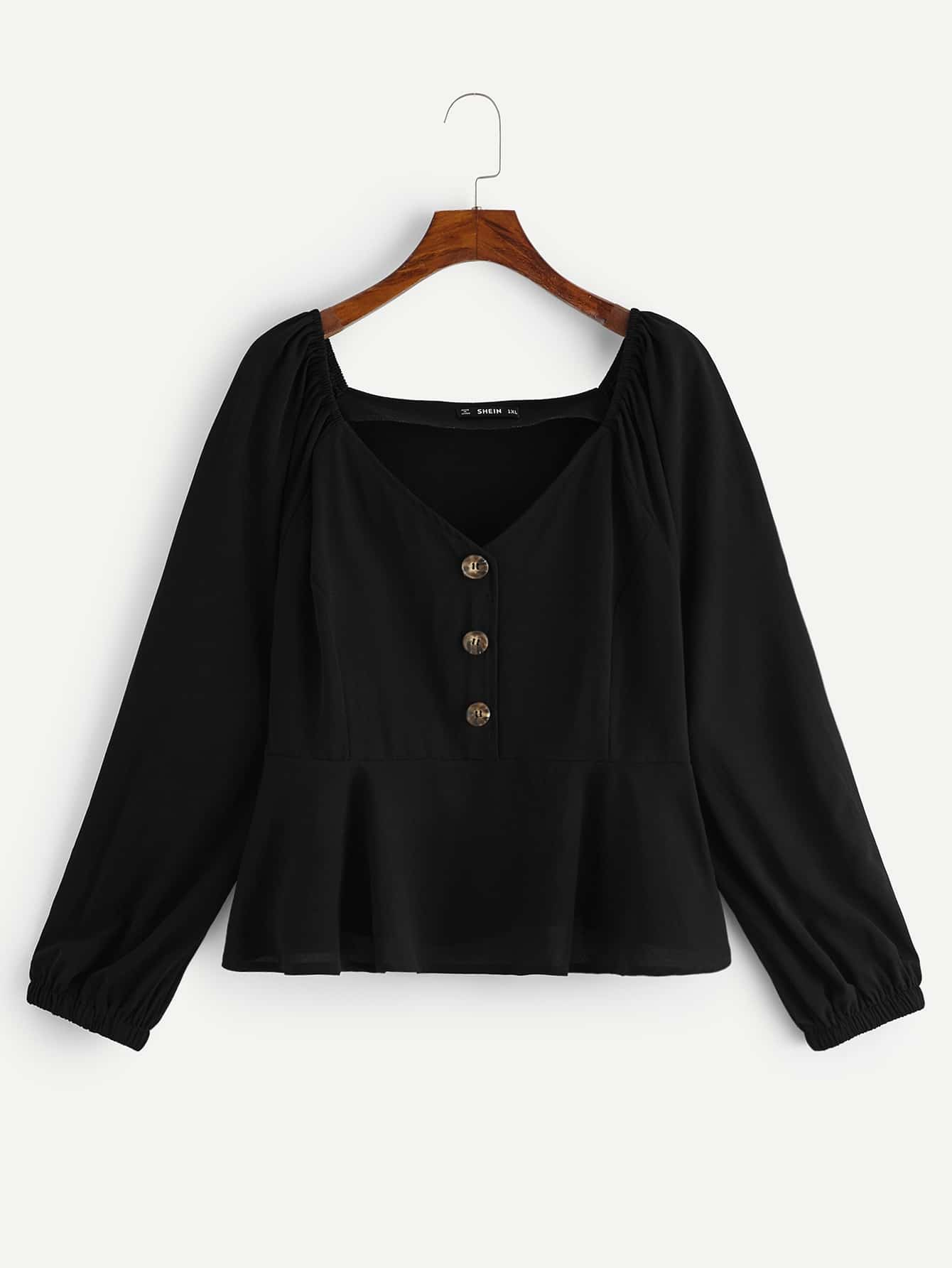 Фото - Размера плюс блузка-юбка с пуговицами от SheIn цвет чёрные