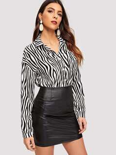 Pocket Patched Zebra Print Buttoned Blouse