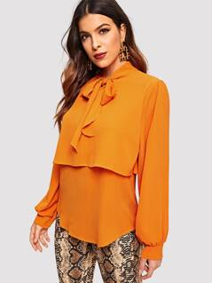 Neon Orange Tied Neck Solid Double Layer Blouse