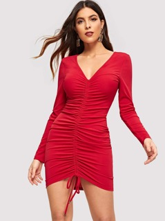 Form Fitting Drawstring Dress