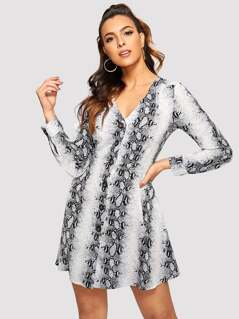Snake Print Button Up Dress