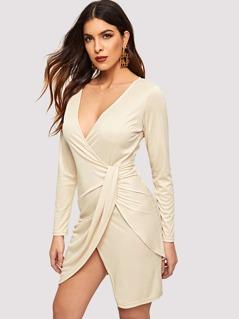 Surplice Neck Ruched Twist Dress