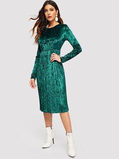 Pleated Hem Crushed Velvet Dress