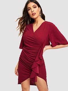 Ruffle Embellished Surplice Ruched Dress