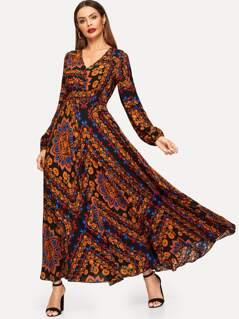Calico Print Flare Dress