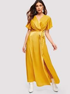 Slit Hem Belted Wrap Maxi Dress