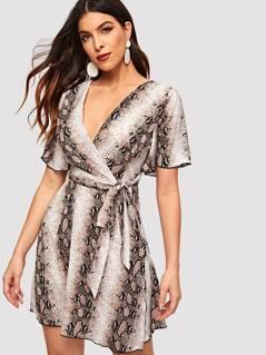 Flutter Sleeve Snake Print Surplice Dress